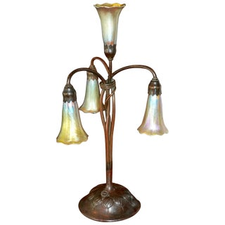 Tiffany Studios Four Lily Light Bronze Table Desk Lamp, Circa 1900 For Sale