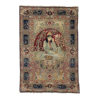 Antique Persian Kerman Rug with Dervish Pictorial For Sale
