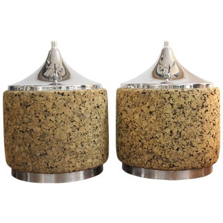 Cork and Steel Table Lamps - a Pair For Sale