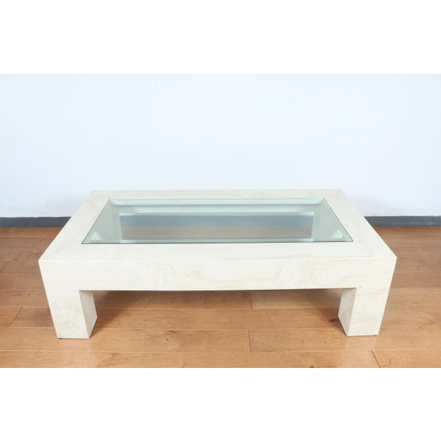 Beautiful Mid century Modern Travertine stone coffee table. Glass top is well kept and comes off.. Table base is super...