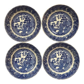 20th Century Cottage Blue Willow Fruit Dishes - Set of 4