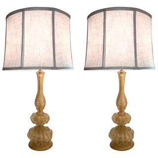 Pair of 1950s Seguso Aventurine Glass Table Lamps, Murano For Sale