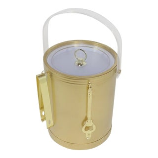 Lexan Mid-Century Modern Gold and Acrylic Ice Bucket For Sale