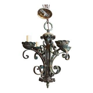 Italian Baroque Wrought Iron Chandelier For Sale