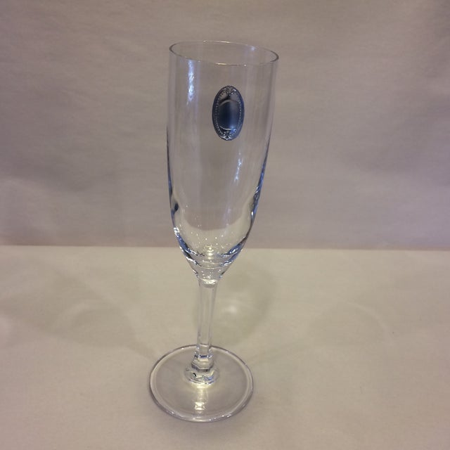 Valenti Vintage Crystal Flutes - A Pair For Sale - Image 5 of 11