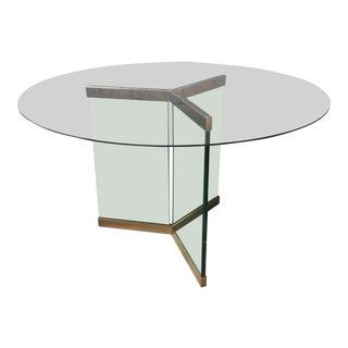 Contemporary Glass & Metal Round Table
