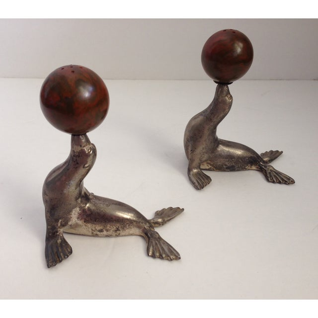 Antique Bakelite Seal Salt & Pepper Shakers - Pair - Image 5 of 9