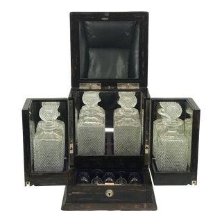 Coromandel Wood Victorian Locking Decanter Box Tantalus Circa 1870s For Sale