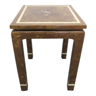 Coconut Shell and Bone Inlaid Side Table