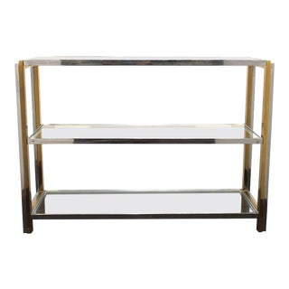 Mid 20th Century Modern Chrome Sideboard with Glass Shelves For Sale