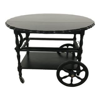 20th Century Country Duncan Phyfe Black Bar Cart For Sale