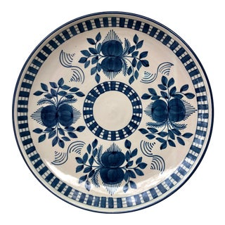 Vintage Spanish Blue & White Ceramic Plate For Sale