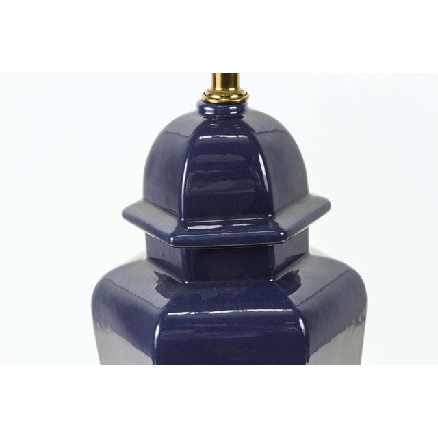 Pair of Modern Cobalt Blue Chinese Ginger Jars Table Lamps For Sale - Image 4 of 8