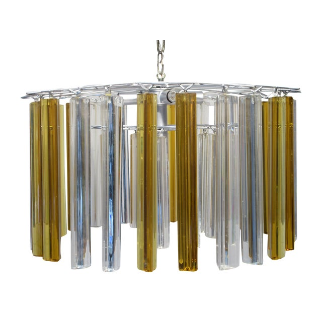 Vintage Retro Glass Rod Chandelier - Image 1 of 6