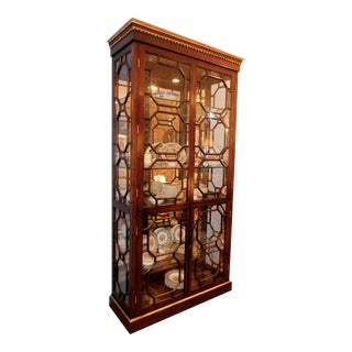 Contemporary Lighted Curio Display China Cabinet With Gorgeous Fretwork For Sale
