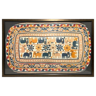 Early 19th Century Antique Hand Embroidered Framed Textile For Sale