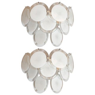 Modernist 9-Disc Hand Blown Murano White and Translucent Glass Sconces - a Pair For Sale