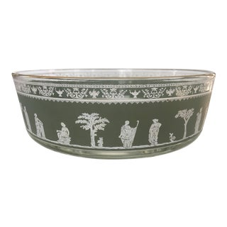 Vintage Mid-Century Jeannette Glass Neo Classical Hellenic Serving Bowl For Sale