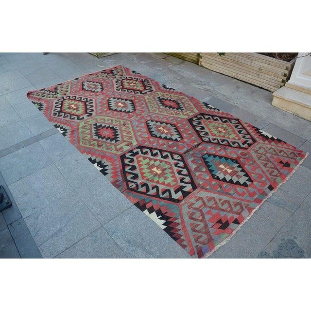 Turkish Vintage Kilim Rug - 4′11″ × 9′4″ - Image 3 of 6