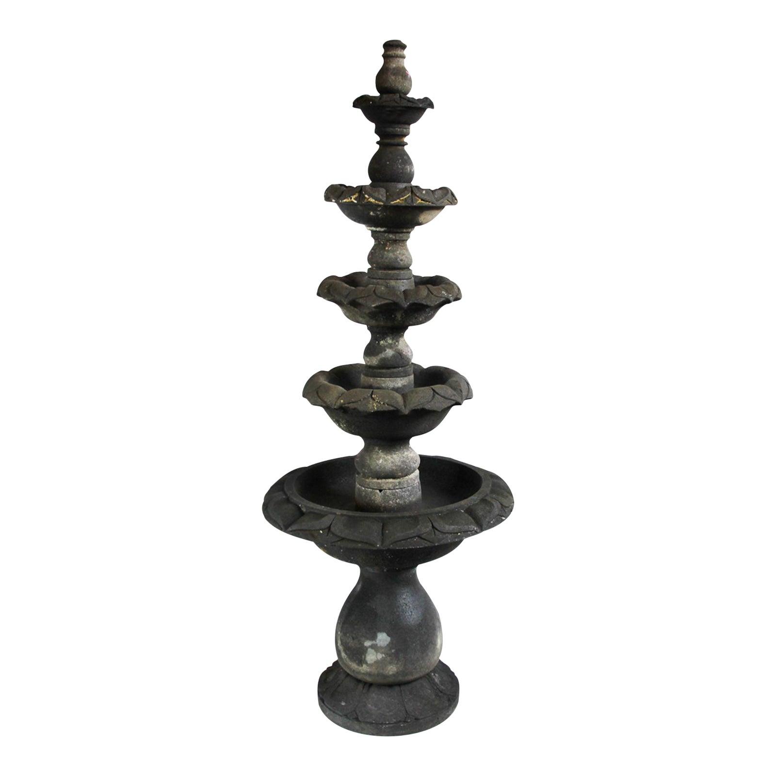 Stacked stone lotus flower fountain chairish izmirmasajfo
