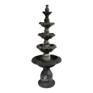 Stacked Stone Lotus Flower Fountain For Sale