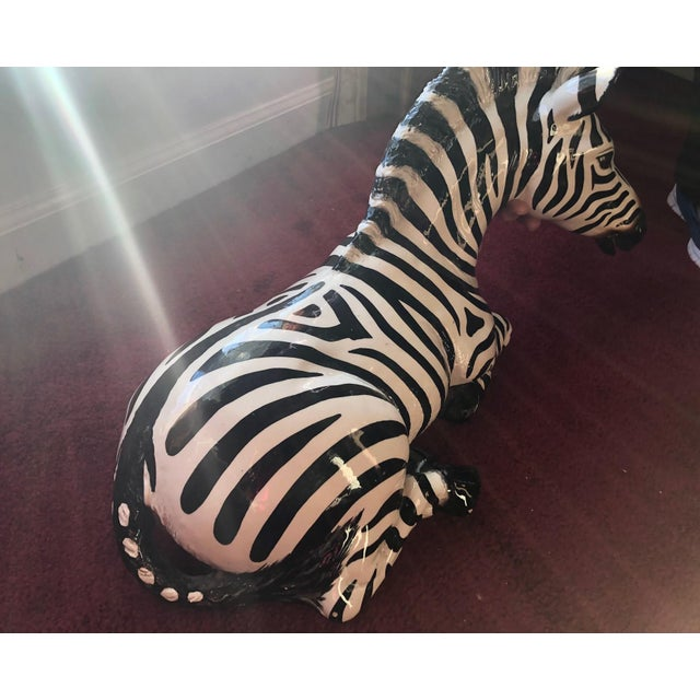 Figurative 1980s Figurative Ceramic Zebra For Sale - Image 3 of 8