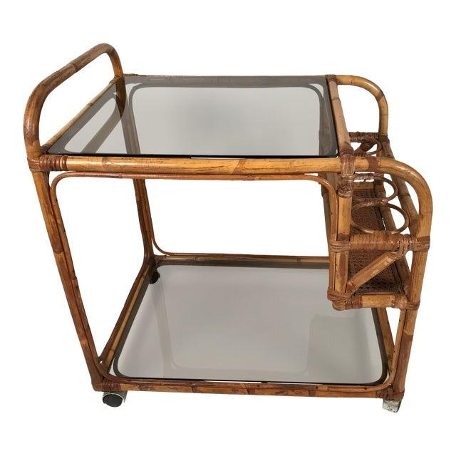 Rattan and Smoked Glass Bar Cart For Sale