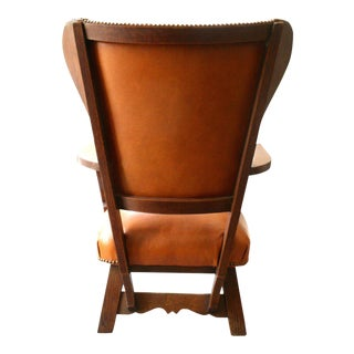 Unusual Exposed Wood Wing Chair With Carved Detail and Leather Upholstery For Sale