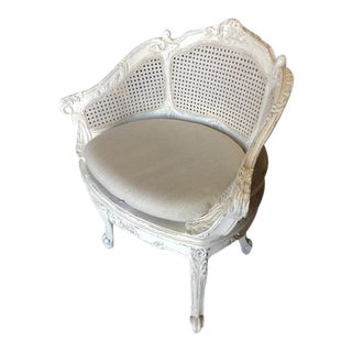Vanity Chair Antiqued White Gray Solid Wood Cane For Sale