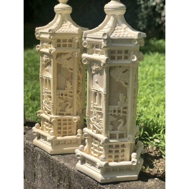 Faux Bamboo Chinoiserie Style Pagoda Lamps - a Pair For Sale In New York - Image 6 of 8