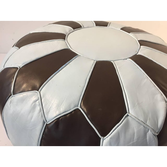 Moroccan Round Leather Pouf Hand-Tooled in Marrakesh For Sale - Image 4 of 10