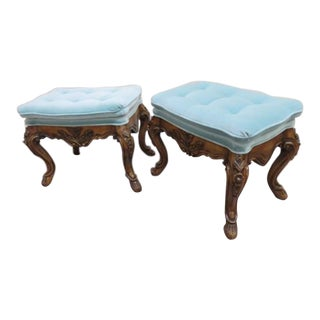 French Louis XV Baroque Bench Stools - a Pair Last Markdown For Sale