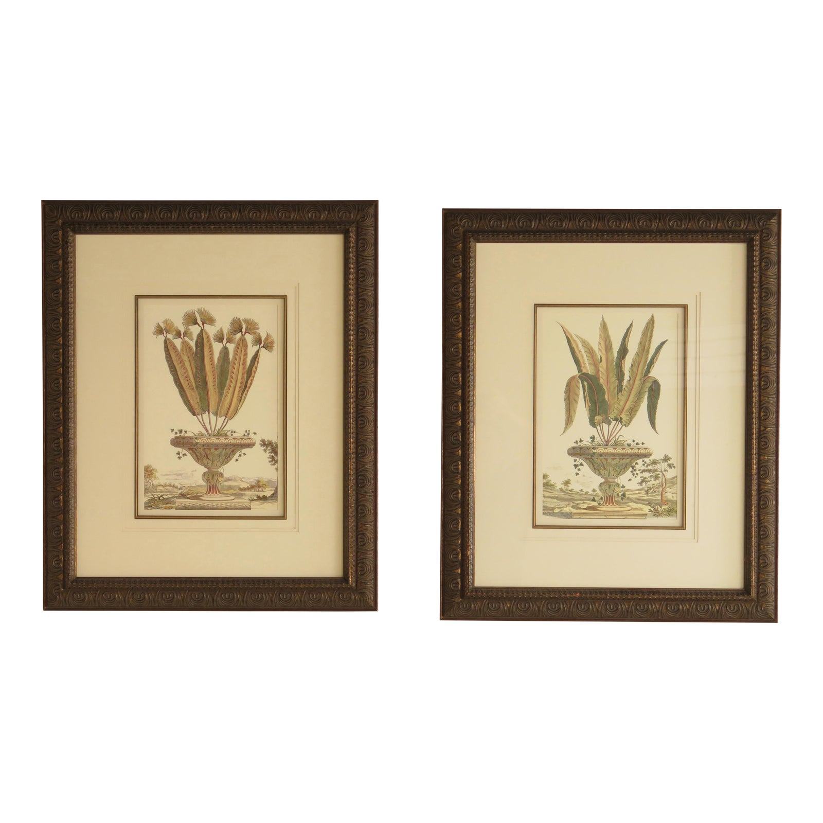 Floral Urn Decorative Framed Wall Arts - A Pair | Chairish