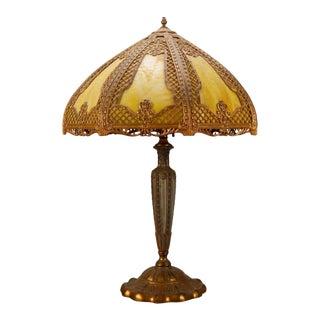 Early 20th Century Arts & Crafts Bradley & Hubbard School Gilt Metal Slag Glass Table Lamp For Sale