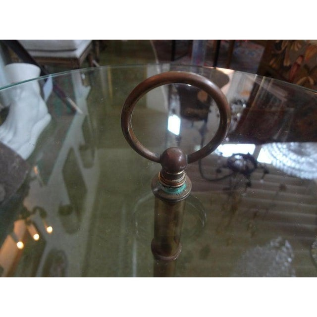 Hollywood Regency Italian Gio Ponti Inspired Brass and Glass Tripod Table For Sale - Image 3 of 9