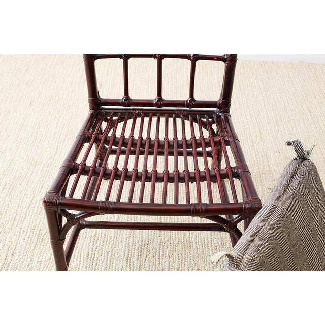 Set of Four McGuire Lacquered Bamboo Dining Chairs For Sale - Image 12 of 13