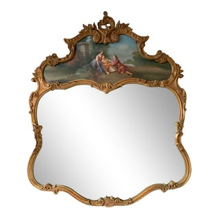 Antique French Giltwood Trumeau Mirror With Oil Painting For Sale