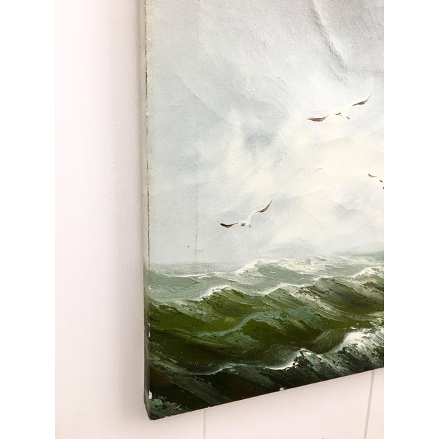 Oil Paint 1960s Vintage Rupert Hydan Colonial Ship on the Sea Oil Painting For Sale - Image 7 of 10