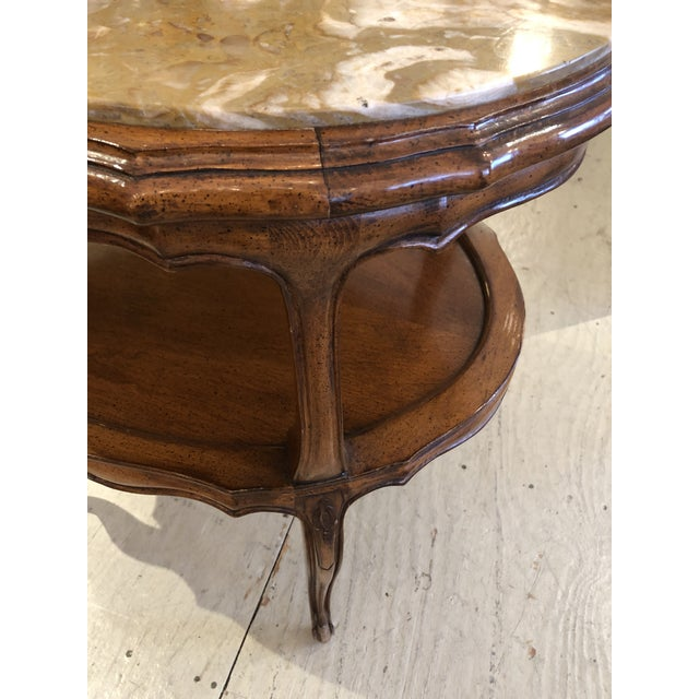 French Provincial Style Marble Inset Two-Tier Fruitwood Oval Side Table For Sale - Image 12 of 13