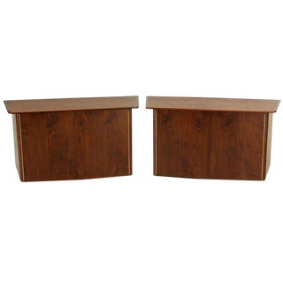 Mid-Century Modern Walnut Hanging Floating Dressers Cabinets - a Pair For Sale
