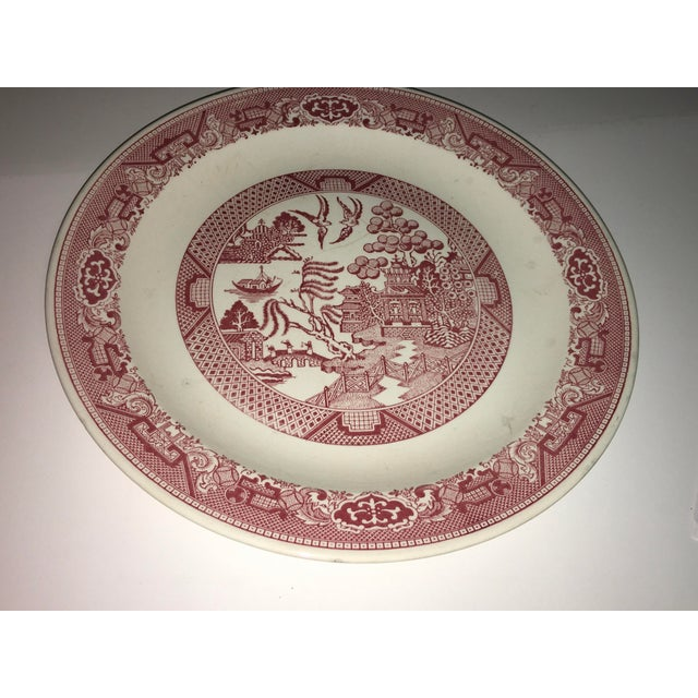 Boho Chic 1970s Vintage Willow Ware Red & White Porcelain Plate For Sale - Image 3 of 10