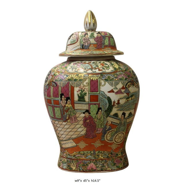 Chinese Oriental Famille Rose Porcelain People Scenery Flat Jar For Sale In San Francisco - Image 6 of 6