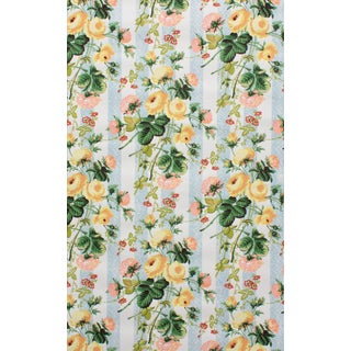 Vintage Bassett McNab Yellow Floral Bouquet Wallpaper - 15 Yard Roll For Sale