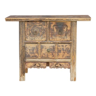 Antique Shanxi Carved Timeworn Dresser For Sale
