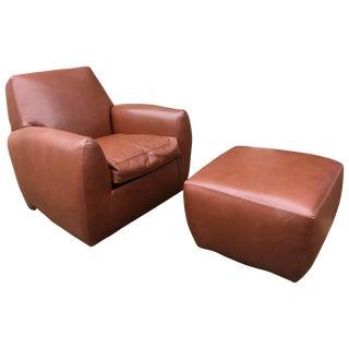 Dakota Jackson Leather Ke-Zu Swivel Club Chair and Ottoman, 1988 For Sale