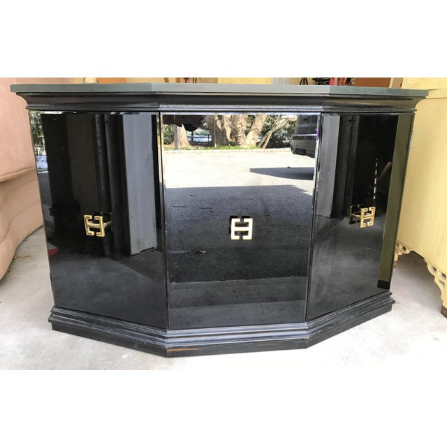 Vintage Modern Style Black Mirrored Glass Demilune Cabinet - Image 2 of 11