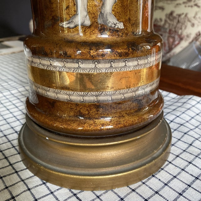 Neoclassical 1950's Fornasetti Attributed Neoclassical Eglomise Lamp For Sale - Image 3 of 9