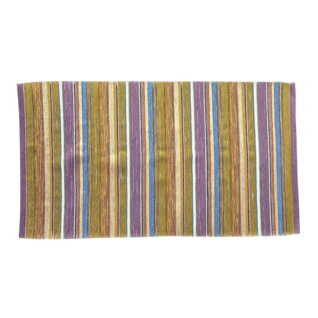Swedish Handwoven Lilac & Green Rug - 4′3″ × 7′4″ - Image 1 of 7