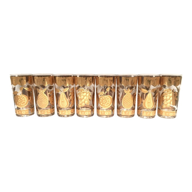 Mid-Century Culver 22k Gold Fruit Tumblers - Set of 8 For Sale