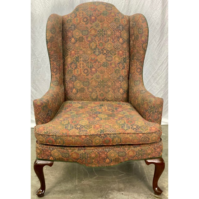Vintage Chippendale Style Wingback Chair featuring Sturdy Mahogany Construction, Woven Medallion Upholstery, Contrasting...